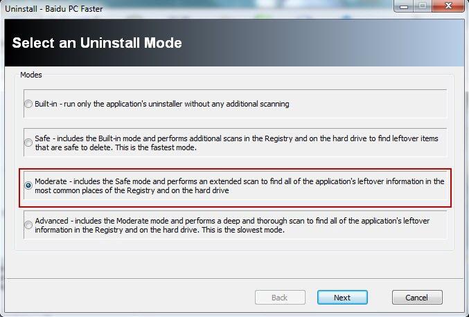 เลือก Moderate เพื่อถอนการติดตั้งโปรมแกรม Baidu PC Faster อย่างละเอียด