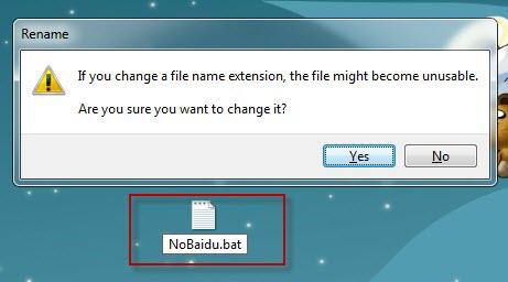 เปลี่ยนชื่อไฟล์ เดิม New Text Document เป็น Nobaidu.bat