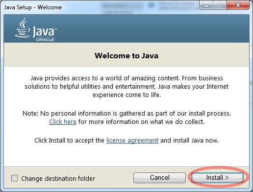 เลือก Install เพื่อเริ่มติดตั้ง Java