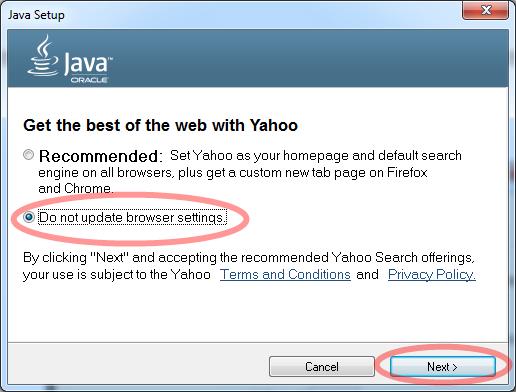 เลือก Do not update browser setting จากนั้นคลิก Next
