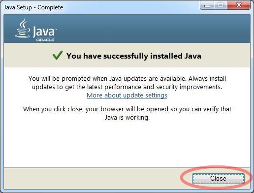 จะปรากฏข้อความ You have successfully installed java