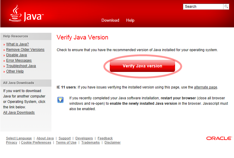 ปรากฏหน้า verify Java คลิก verify Java version