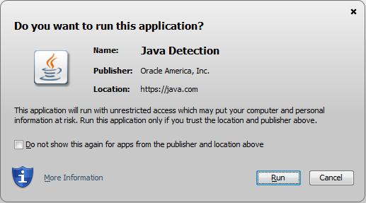 ปรากฏหน้าต่าง ถามว่าต้องการใช้งาน Java นี้หรือไม่ เลือก Run